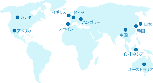 アメリカ カナダ イギリス スペイン ドイツ ハンガリー 中国 インドネシア 韓国 日本 オーストラリア
